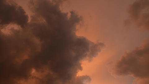 4K Slowly Moving Thunder Clouds Sunset Timelapse Stock Video Footage