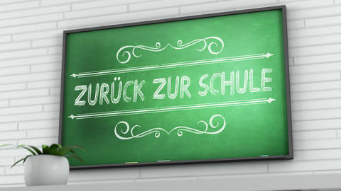 4K Chalkboard with Back to School German Text 2 Animation