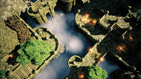 4K Ancient Mysterious Fantasy Town Aerial 3D Animation Animation