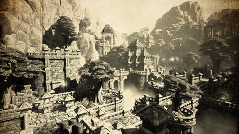 4K Ancient Mysterious Fantasy Town Vintage Aerial 3D Animation Footage