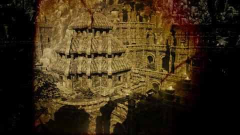 4K Ancient Mysterious Fantasy Town Vintage Aerial 3D... Stock Video Footage