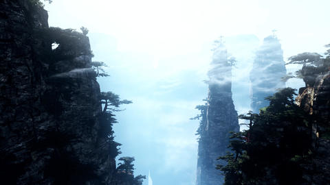 4K Cinematic Fairy Tale Fantasy Oriental Mountains Animation