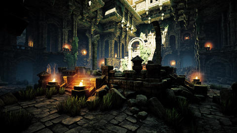 4K Ancient Mysterious Fantasy Town Aula Hall Animation