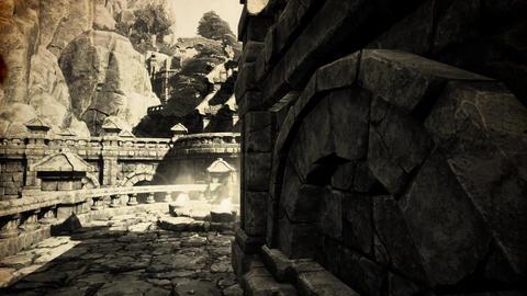 4K Ancient Mysterious Fantasy Town Sacred Shrine Vintage Animation