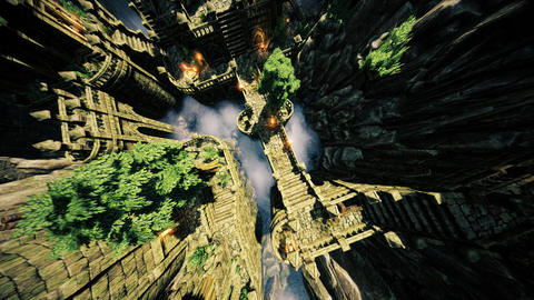 4K Ancient Mysterious Fantasy Town Super Wide Aerial Pullout Animation