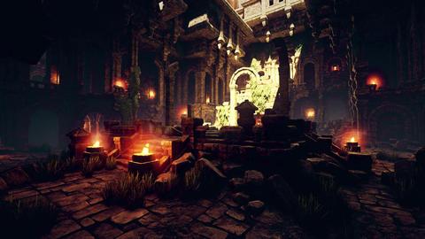 4K Ancient Mysterious Fantasy Town Aula Hall Animation