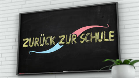 4K Blackboard with Back to School German Text 2 Animation