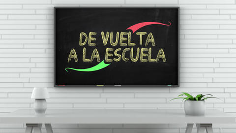 4K Blackboard with Back to School Spanish Text 1 Animation
