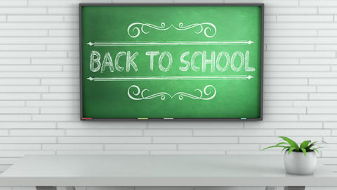 4K Chalkboard with Back to School Text 1 Animation