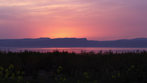 Royalty Free Stock Video Footage of the Sea of Galilee at sunset shot in Israel  Footage