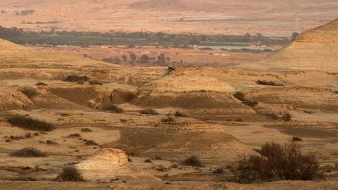 Royalty Free Stock Video Footage of a desert landscape at dusk shot in Israel at Footage