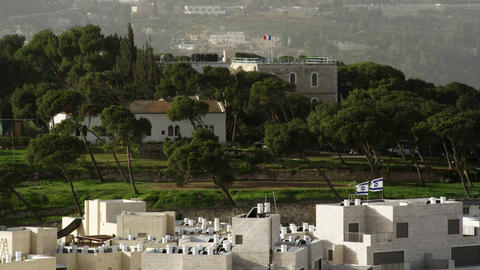 Stock Video Footage of Jerusalem trees and flags in the wind filmed in Israel at Footage