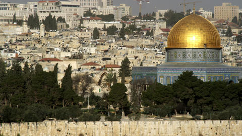 Royalty Free Stock Video Footage panorama of the Dome Of The Rock filmed in Isra Footage