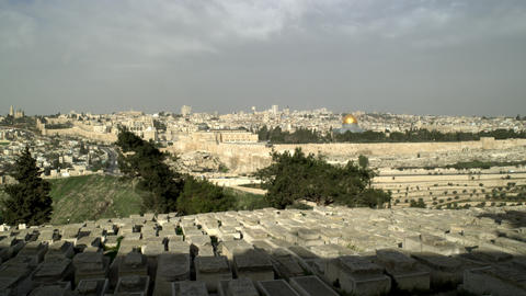 Stock Video Footage panorama of Jewish Cemetery and Old Jerusalem filmed in Isra Footage
