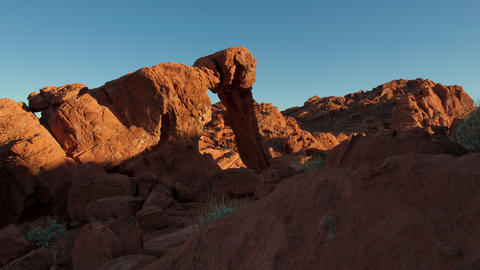 Timelapse shot of Elephant Rock during sunset at Nevada's Valley of Fire State P Footage