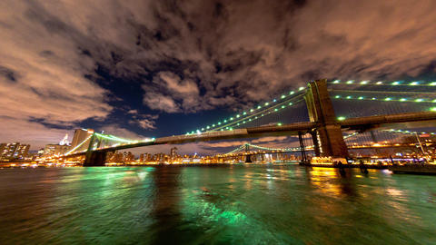Brooklyn and Manhattan Bridge and the New York City skyline time lapse Footage