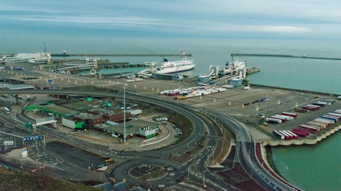 Time-lapse of the docks at Dover, England Footage