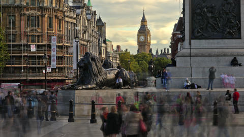 Time-lapse shot at Trafalgar Square circa October 2011 in London Footage