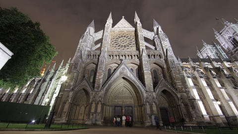Time-lapse of the North Entrance of Westminster Abbey in London Footage