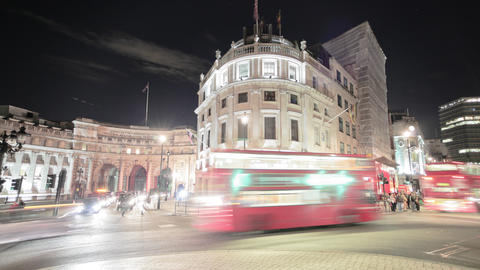 Time-lapse of traffic around Charing Cross in London Footage