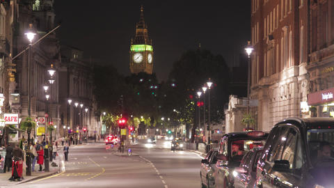 Time-lapse of White Hall road and Big Ben circa October 2011 in London Footage