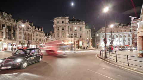 Time-lapse of traffic at Charing Cross in London Footage