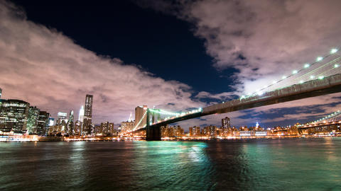 Brooklyn Bridge and the New York City skyline time lapse Footage