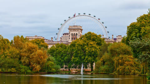 London Eye time-lapse from Saint James Park in London Footage