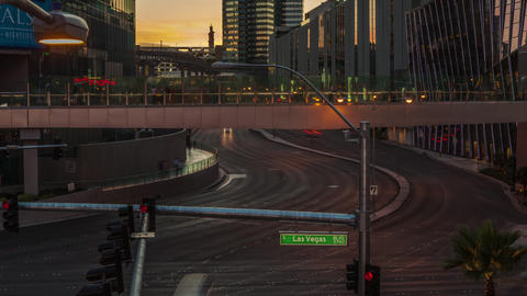 Timelapse shot of the setting sun over the Vegas strip Footage