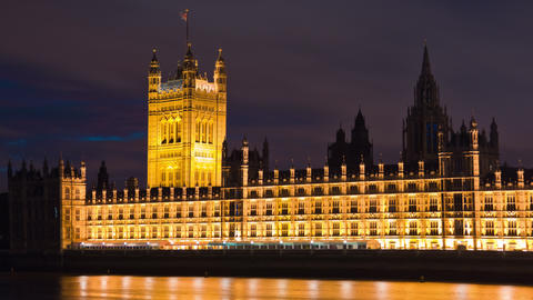 Time-lapse of Victoria Tower at Westminster Palace in London Footage