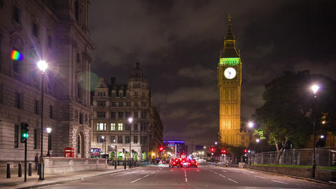 Time-lapse of the streets below Big Ben in London Footage
