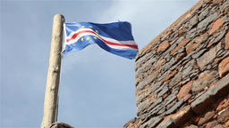 Cape Verde flag flows with the wind Footage