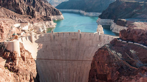 Timelapse aerial shot of the Hoover Dam in Nevada with lens flare Footage