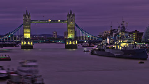HDR time-lapse of the Tower Bridge in London Footage