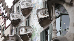 balconies and windows of house milá known as la Pedrera made by Antoni Gaudí Footage