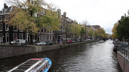 Tourist boat in Amsterdam canal Footage