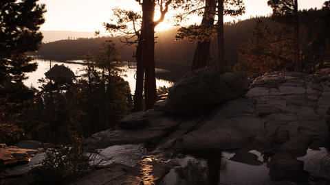 Shot of stream and trees at dusk above Emerald Bay, Lake Tahoe, California Footage