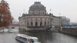 Turist boat in Berlin canal Footage