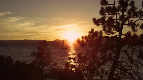 Static shot of sailboat out at Emerald Bay at Lake Tahoe, California Footage