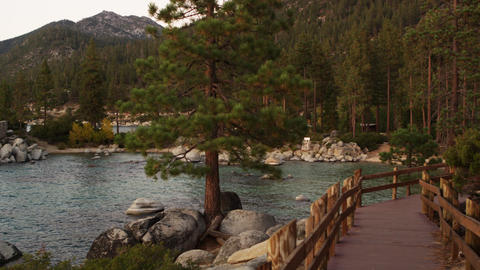 Static shot taken from the boardwalk next to Lake Tahoe at Sand Harbor State Par Footage