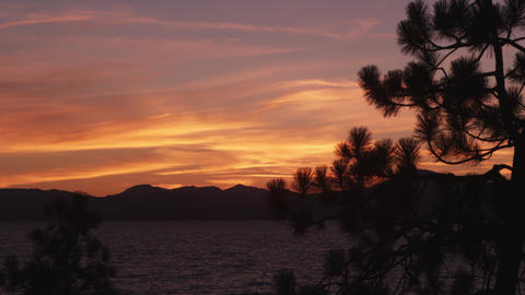 Beautiful sunset above Lake Tahoe at Sand Harbor State Park Footage