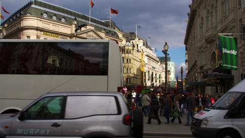 Piccadilly Circus and surrounding buildings in London Footage