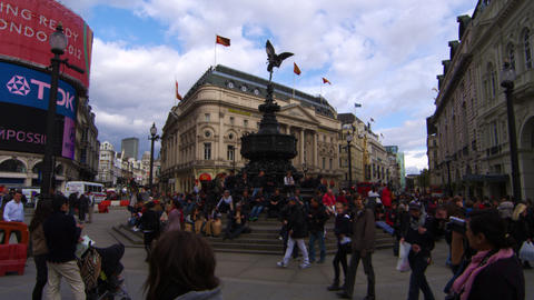 LONDON - OCTOBER 7: Shot pans across Piccadilly Circus on October 7, 2011 in Lon Footage