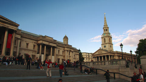 LONDON - OCTOBER 7: National Gallery and St. Martin-in-the-Fields on October 7,  Footage