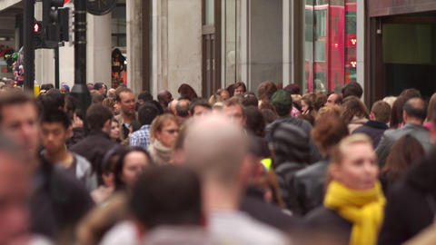 LONDON - OCTOBER 8: Crowded Oxford Street on October 8, 2011 in London Footage