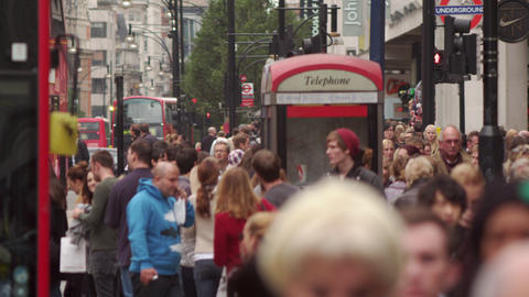 LONDON - OCTOBER 8: Busy Oxford Street slowed down on October 8, 2011 in London Footage