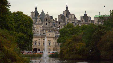 Horse Guards building in London from Saint James Park Footage