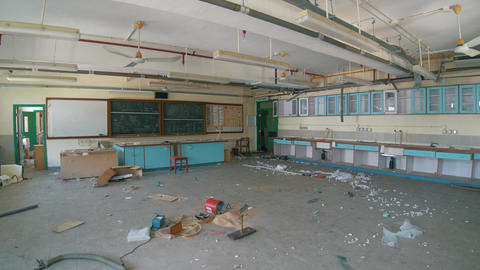 Abandoned School - Destroyed Chemistry Classroom 03 Footage