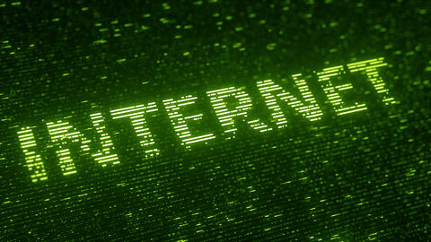 Green INTERNET word made with flying luminescent particles. Information Footage