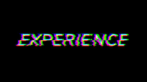 From the Glitch effect arises text EXPERIENCE. Then the TV turns off. Alpha channel Premultiplied - Animation